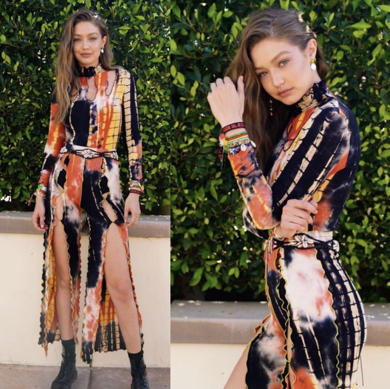 Famous women who create creative bohemian festival styles by combining high fashion brands